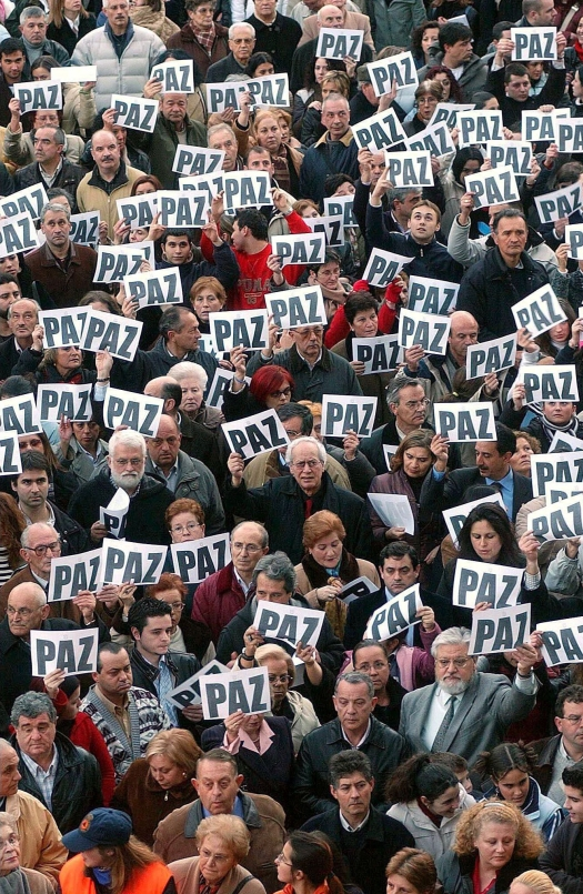 Mandatory Credit: Photo by Sipa Press/REX (447001c) CROWDS OF ANTI TERRORIST DEMONSTRATORS MARCH THROUGH THE STREETS OF MADRID AN ANTI TERRORIST DEMONSTRATION AFTER THE MULTIPLE BOMBINGS OF COMMUTER TRAINS, MADRID, SPAIN - 12 MAR 2004